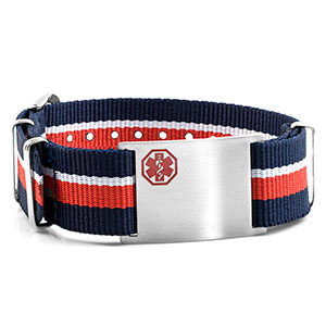 Red, White, & Blue Nylon Stripe Medical  Bracelet - HSKU:DTJ-3646