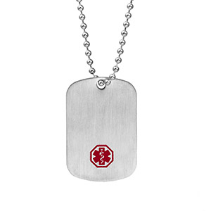 Silver Medical Dog Tag with 26 inch Chain