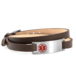 Brown Leather Double Wrap Medical ID Bracelet