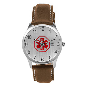 Mens Brown Leather Medical Watch