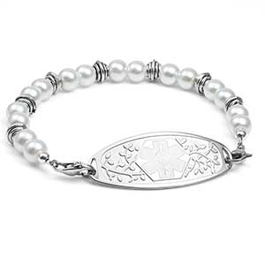 White and Silver Bead Bracelet 7.5 inches