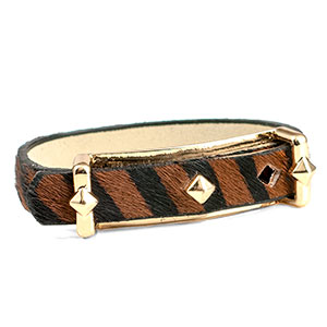 Black Leather Bracelet with Textured Brown & Black Stripe - Non-Medical - HSKU:NM-2026-B
