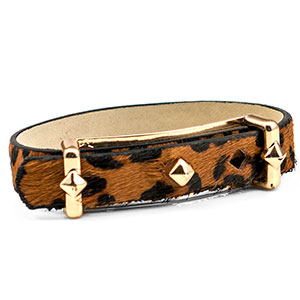 Black Leather Bracelet with Textured Cheetah Print - HSKU:NM-2026-BRN
