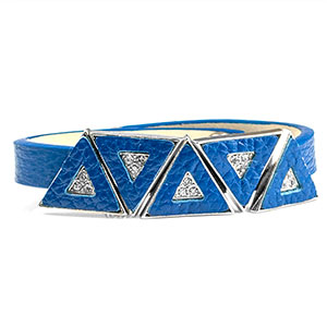 Leather Bracelet with Crystal Triangles - Non-Medical - HSKU:NM-2034